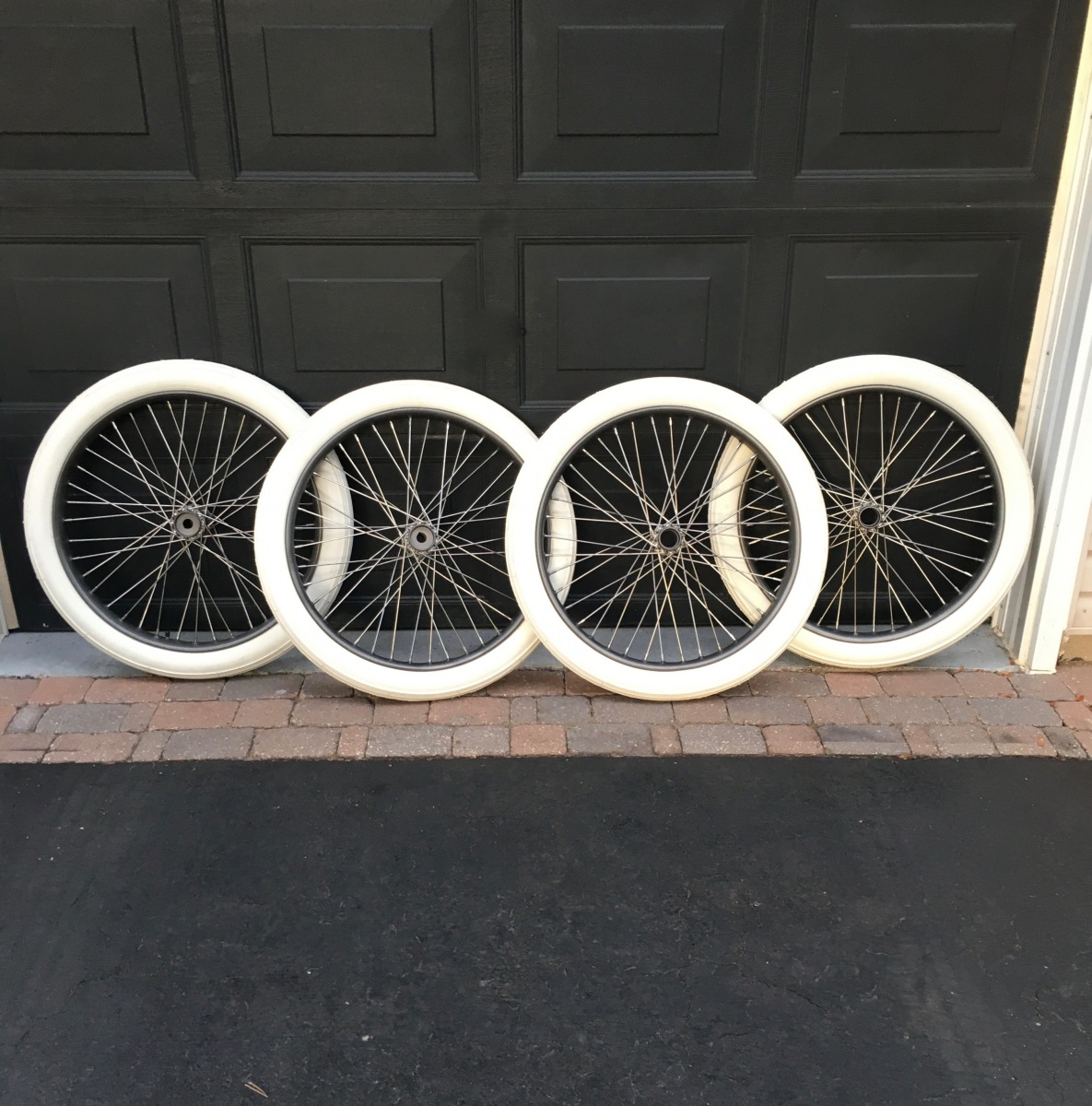 Completed Four Wheels - New Spokes / Period Tires