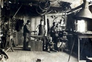 The inside of George Foot Foss' machine shop where the Fossmobile was built.