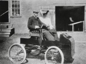Brother Harry, driving the Fossmobile